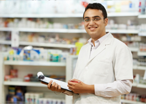 pharmacist holding a writing pad and ballpen
