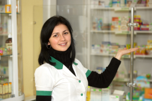 pharmacist showing pharmacy products