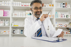 pharmacist inside pharmacy