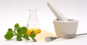 mortar, pestle,stirrer,powder and leaves