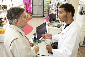 customer asking pharmacist on a medicine